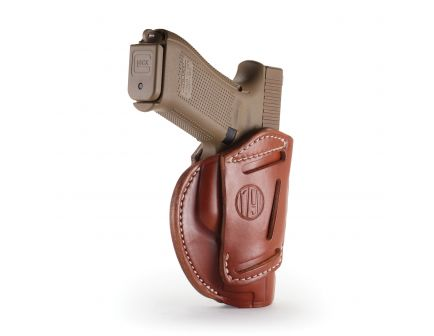 1791 Gunleather 3WH-5 Ambidextrous Glock 17 OWB Open-Top Concealment 3-Way Holster, Classic Brown - 3WH-5-CBR-A