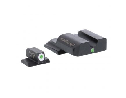AmeriGlo I-Dot Front/Single Dot Rear Night Sight Set for M&P Shield Pistols, Green with White Outline Front, Green Rear - SW141
