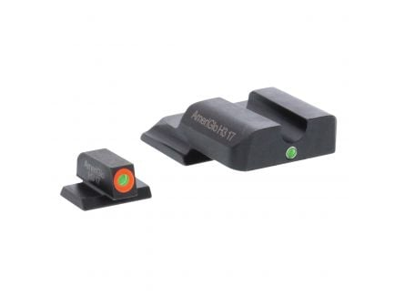 AmeriGlo I-Dot Front/Single Dot Rear Night Sight Set for M&P Shield Pistols, Green with Orange Outline Front, Green Rear - SW245