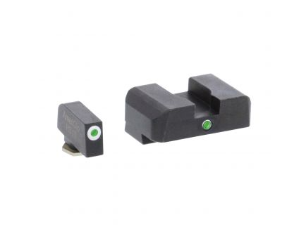 AmeriGlo I-Dot Front/Single Dot Rear Night Sight Set for Glock 17, 19 Pistols, Green with White Outline Front, Green Rear - GL101