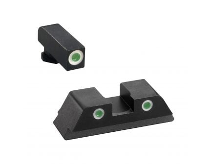 AmeriGlo Classic Self-Luminous 3 Dot Night Sight Set for Glock 17, 19 Pistols, Green with White Outline Front/Rear - GL113