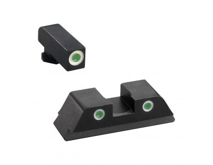 AmeriGlo Classic Self-Luminous 3 Dot Night Sight Set for Glock 20, 21 Pistols, Green with White Outline Front/Rear - GL119