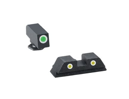 AmeriGlo Classic Self-Luminous 3 Dot Night Sight Set for Glock 20 Pistol, Green with White Outline Front, Yellow with White Outline Rear - GL121