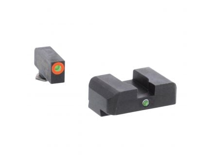 AmeriGlo I-Dot Front/Single Dot Rear Night Sight Set for Glock 17, 19 Pistols, Green with Orange Outline Front, Green Rear - GL201