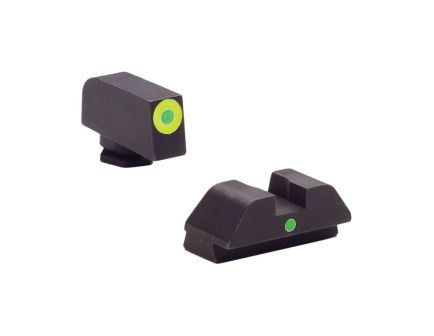 AmeriGlo I-Dot Front/Single Dot Rear Night Sight Set for Glock 42, 43 Pistols, Green with Lumigreen Outline Front, Green Rear - GL305