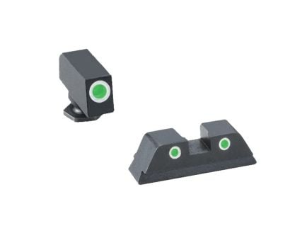 AmeriGlo Classic Self-Luminous 3 Dot Night Sight Set for Glock 42, 43 Pistols, Green with White Outline Front/Rear - GL430