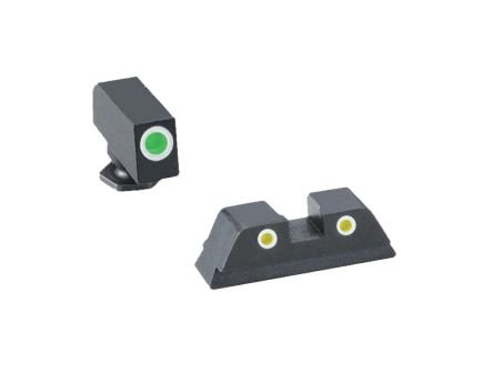 AmeriGlo Classic Self-Luminous 3 Dot Night Sight Set for Glock 42 Pistol, Green with White Outline Front, Yellow with White Outline Rear - GL431
