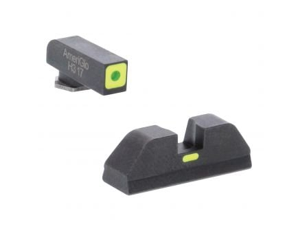 AmeriGlo CAP Sight Set for Glock 17, 19 Pistols, Green with Lumigreen Outline Front, Lumigreen Paint Bar Rear - GL614