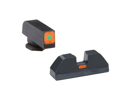 AmeriGlo CAP Sight Set for Glock 17, 19, 22 Pistols, Green with Orange Outline Front, Orange Paint Bar Rear - GL616