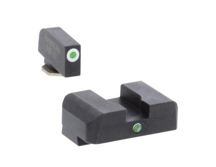AmeriGlo I-Dot Front/Single Dot Rear Night Sight Set for Glock Gen5 17, 19, 19x Pistols, Green with White Outline Front, Green Rear - GL5101