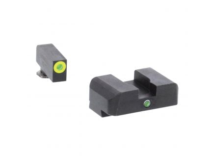 AmeriGlo I-Dot Front/Single Dot Rear Night Sight Set for Glock Gen5 17, 19, 19x Pistols, Green with Lumigreen Outline Front, Green Rear - GL5301