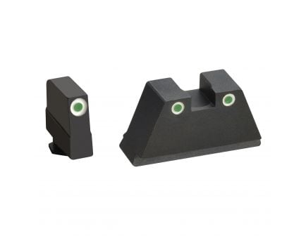 AmeriGlo Tall Suppressor 3X-Large Height Sight for All Glock Pistols, Green with White Outline Front and Rear - GL349