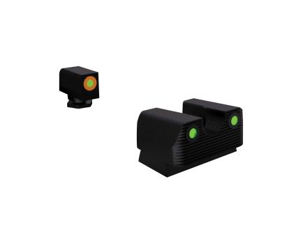 Rival Arms Tritium Standard Height Night Sight for Glock 42, 43 Pistols, Green with Orange Outline Front, Green Rear - RA2A231G