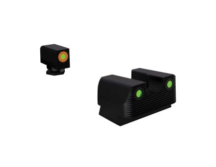 Rival Arms Tritium Standard Height Night Sight for Glock 17, 19 Pistols, Green with Orange Outline Front, Green Rear - RA1A231G