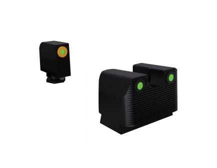 Rival Arms Tritium MOS Height Night Sight for Glock 17, 19 Pistols, Green with Orange Outline Front, Green Rear - RA3A231G