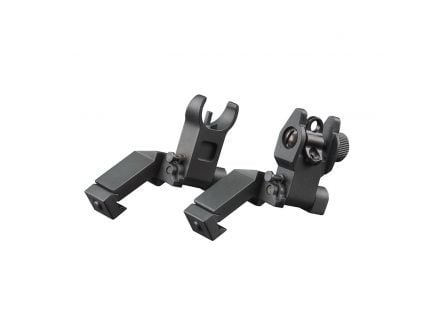 Aim Sports Low-Profile 45 deg Frond/Rear Flip-Up Sight Set for AR-15/M-4 Rifles - MT45FS