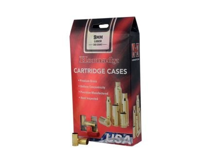 Hornady New Unprimed Brass 9mm Luger Cartridge Cases, 200 count - 8720