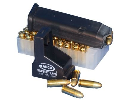ADCO Super Thumb Double Stack 9mm/.40 S&W/.45 ACP Polymer Magazine Loader, Black - ST2