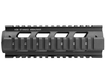 Aim Sports Aluminum Carbine Length Quad Rail w/ Covers, Anodized Black - MT041