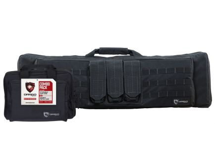 Drago Gear Double Rifle and Pistol Case Combo Pack, Smooth Black - 12-342BL