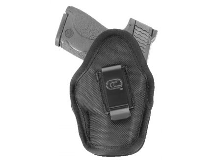"""GSM Outdoors The Impact Ambidextrous Hand 3"""" to 3.5"""" Compact Low-Profile Inside-The-Waistband Conceal Carry Holster, Textured Black - CRF-MPCTSA1C-3"""