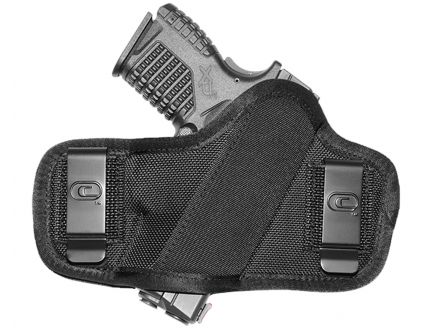 """GSM Outdoors The Clip-On Ambidextrous Hand 3"""" to 3.5"""" Compact Low-Profile Outside-The-Waistband Holster, Textured Black - CRF-CLPONSA1C-3"""