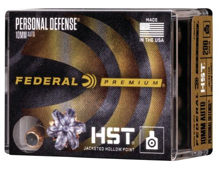 Federal Premium Personal Defense 200 gr HST Jacketed Hollow Point 10mm Ammo, 20/box - P10HST1S