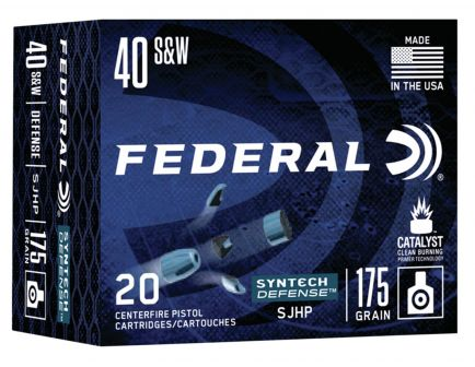 Federal Syntech Defense 175 gr Segmented Hollow Point .40 S&W Ammo, 20/box - S40SJT1