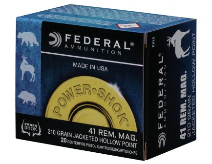 Federal Power-Shok 210 gr Jacketed Hollow Point .41 Rem Mag Ammo, 20/box - C41A