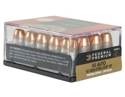 Federal Premium Personal Defense Hydra-Shok Low Recoil 165 gr Jacketed Hollow Point .45 ACP Ammo, 20/box - PD45HS3 H