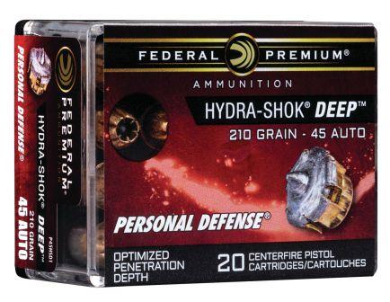 Federal Premium 210 gr Hydra-Shok Deep .45 ACP Ammo, 20/box - P45HSD1