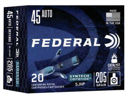 Federal Syntech Defense 205 gr Segmented Hollow Point .45 ACP Ammo, 20/box - S45SJT1