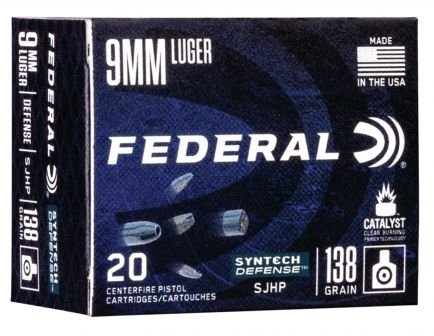 Federal Syntech Defense 138 gr Segmented Hollow Point 9mm Ammo, 20/box - S9SJT1