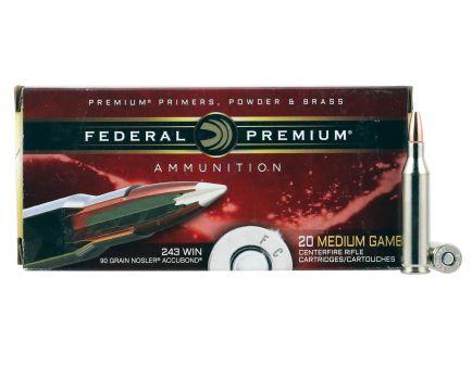 Federal Premium 90 gr Nosler AccuBond .243 Win Ammo, 20/box - P243A1