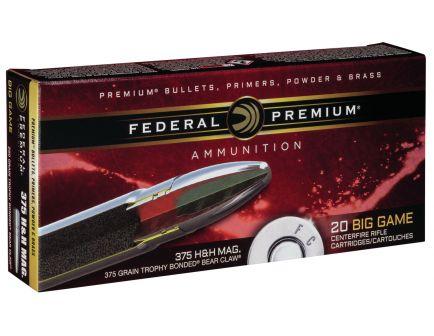 Federal Premium 250 gr Trophy Bonded Bear Claw .375 H&H Mag Ammo, 20/box - P375T4