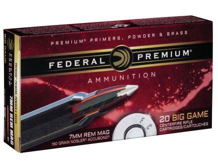 Federal Premium 160 gr Nosler AccuBond 7mm Rem Mag Ammo, 20/box - P7RA1