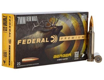 Federal Premium Hunter 168 gr Berger Hybrid 7mm Rem Mag Ammo, 20/box - PR7BCH1