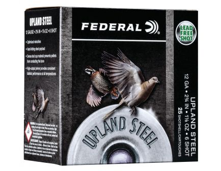 "Federal Upland Steel 2.75"" 12 Gauge Ammo 6, 25/box - USH12 6"