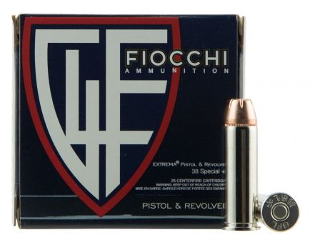 Fiocchi Extrema 125 gr Jacketed Hollow Point .38 Spl +P Ammo, 25/box - 38XTPP25