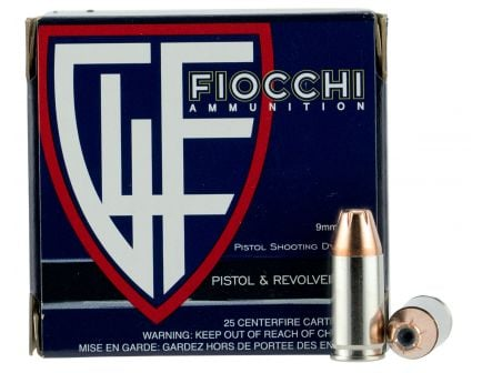 Fiocchi Extrema 124 gr XTP Hollow Point 9mm Ammo, 25/box - 9XTPC25