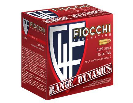 Fiocchi Range Dynamics 115 gr Full Metal Jacket 9mm Ammo, 200 Rounds - 9ARD
