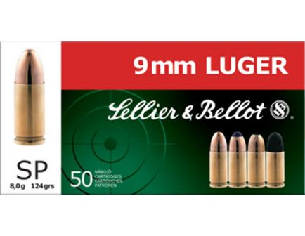 Sellier & Bellot 124 gr Semi-Jacketed Soft Point 9mm Ammo, 50/box - SB9S
