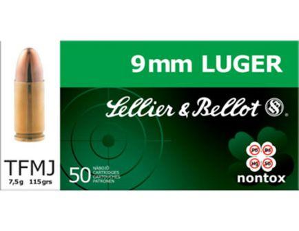 Sellier & Bellot 115 gr Full Metal Jacket 9mm Ammo, 50/box - SB9NT