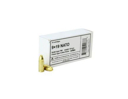 Sellier & Bellot 124 gr Full Metal Jacket 9mm Ammo, 50/box - SB9NATO