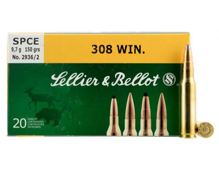 Sellier & Bellot 168 gr Hollow Point Boat Tail .308 Win/7.62 Ammo, 20/box - SB308E
