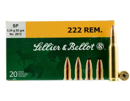 Sellier & Bellot 50 gr Semi-Jacketed Soft Point .222 Rem Ammo, 20/box - SB222A