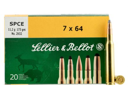 Sellier & Bellot 173 gr Semi-Jacketed Soft Point Cutting Edge 7x64mm Brenneke Ammo, 20/box - SB764B