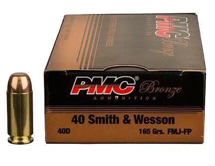 PMC Ammunition Bronze 165 gr Full Metal Jacket Flat Point .40 S&W Ammo, 300/box - 40DBP