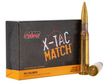 PMC Ammunition X-TAC Match 740 gr Solid Brass .50 Ammo, 10/box - 50XM