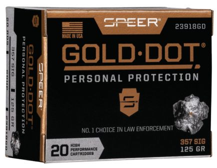 Speer Gold Dot 125 gr Hollow Point .357 Sig Ammo, 20/box - 23918GD